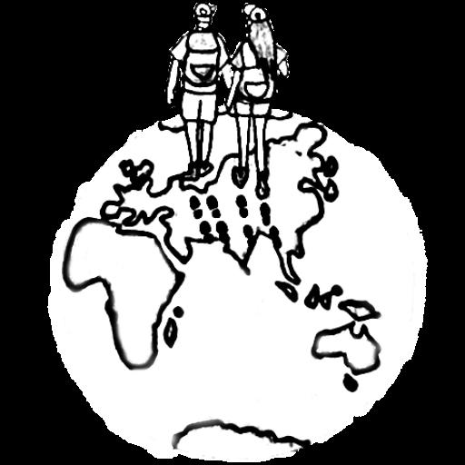 Jul&Gaux SerialHikers autostop hitchhiking aventure adventure alternative travel voyage volontariat volonteering logo black white