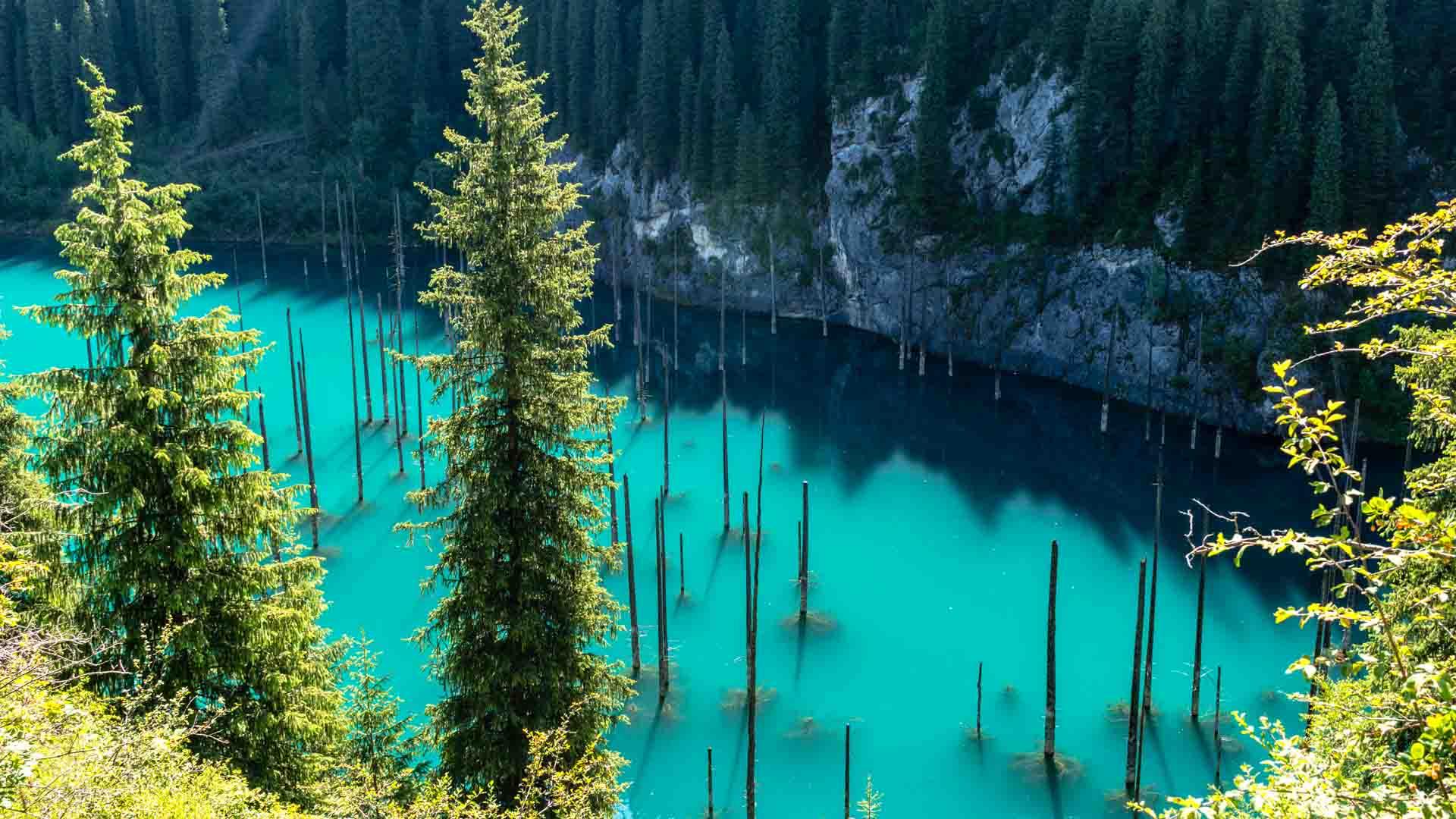 SerialHikers stop autostop world monde tour hitchhiking aventure adventure alternative travel voyage sans avion no fly Kazakhstan Kaindy Lake lac sunken forest forêt immergée camping